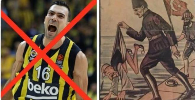 Greek player Sloukas attacked online by Turks after refusing to touch banner with Kemal Ataturk
