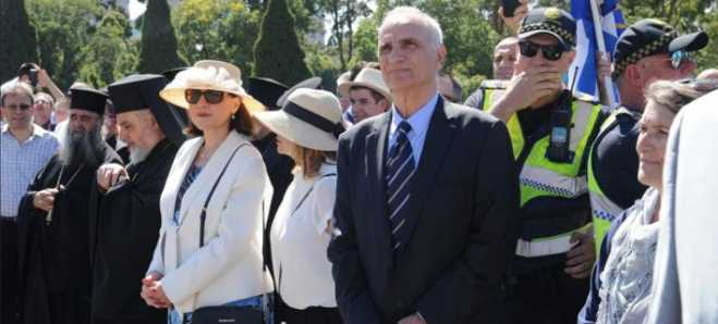 Greek Australians disapproval force Terence Quick to leave 25 March celebrations