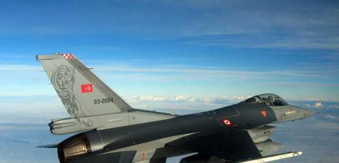 Two Turkish F-16 fighters fly over Greek islands