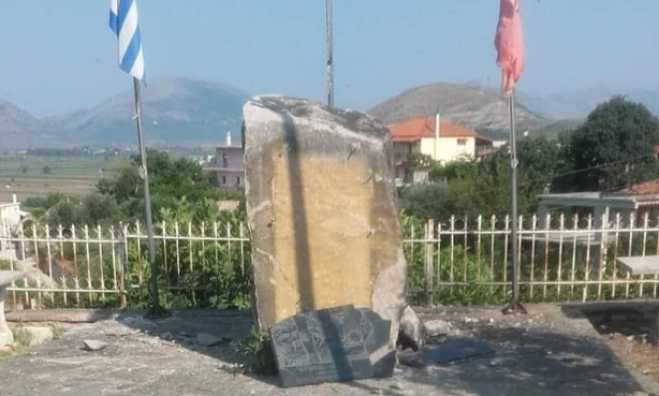 Albanians vandalize again Greek monument to terrorize the Greek minority