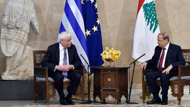 President Pavlopoulos meets with Lebanese counterpart ourt Aoun in Beirut