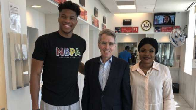 US Ambassador welcomes NBA MVP Giannis at consulate in Athens