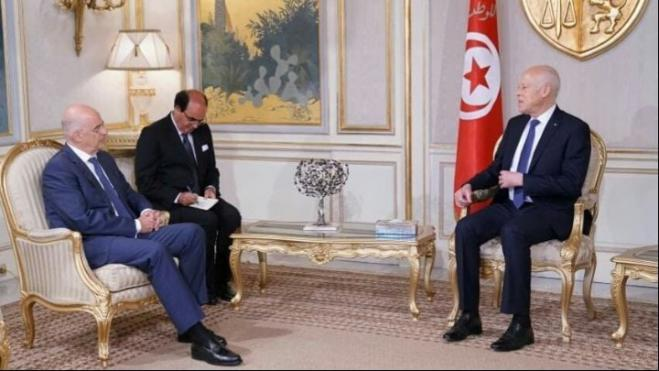 Greek FM Dendias meets with Tunisian President Saied in Tunis
