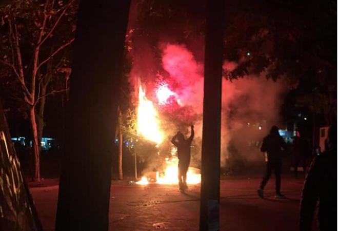 Christmas tree on Exarchia square torched for a second time