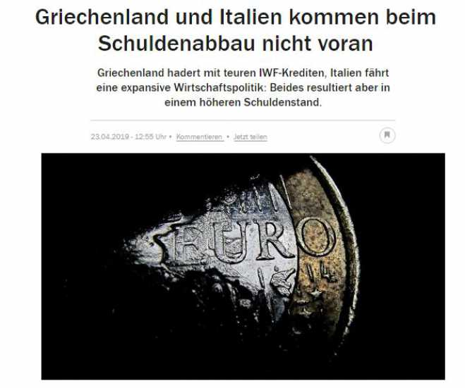 "Handelsblatt: Greece and Italy are Eurozone's ""problematic children"""