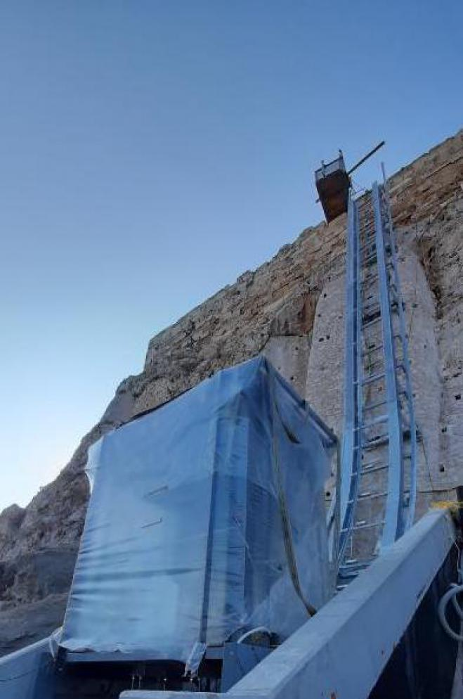 Modern elevator on the Acropolis allows access for the disabled