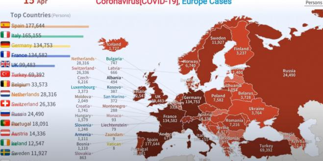 How the coronavirus spread in Europe from January 24 to Holy Wednesday (vid)