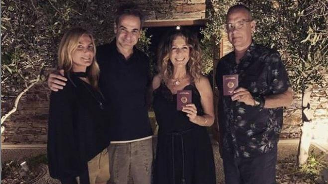 Tom Hanks and Rita Wilson receive passports from Greek PM
