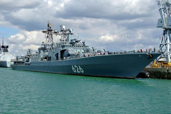 Russian destroyer docks in Piraeus