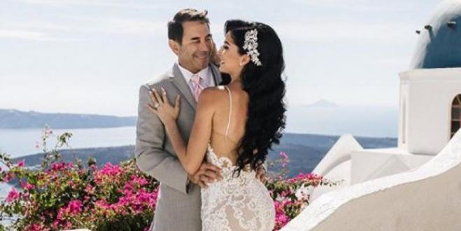 Famous Hollywood TV plastic surgeon weds Greek American assistant in Santorini