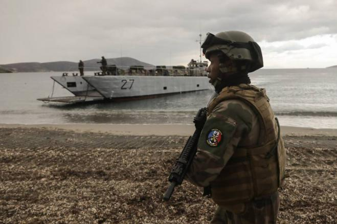 Greece, US, and France in large military drills practice recapturing island