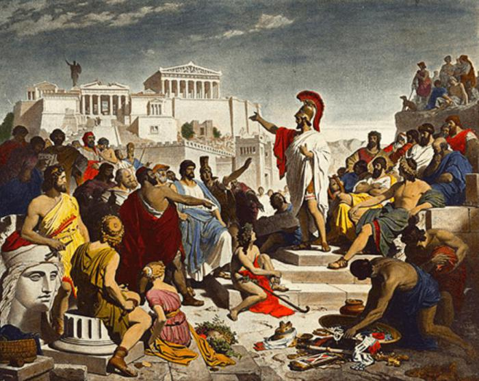 Nineteenth-century painting by Philipp Foltz depicting the Athenian politician Pericles delivering his famous funeral oration in front of the Assembly – Public Domain
