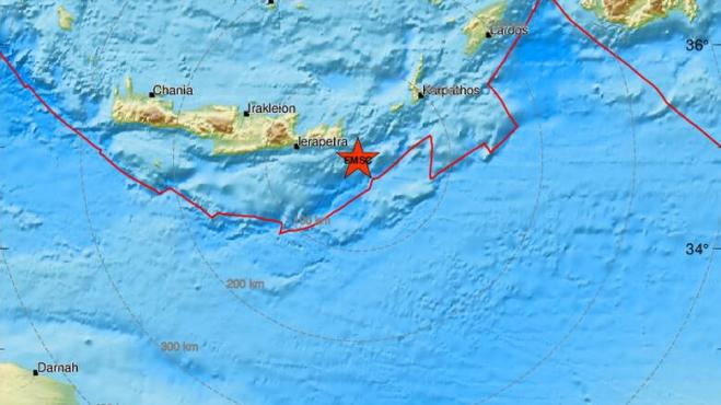 Series of earthquakes off Crete and in Achaia