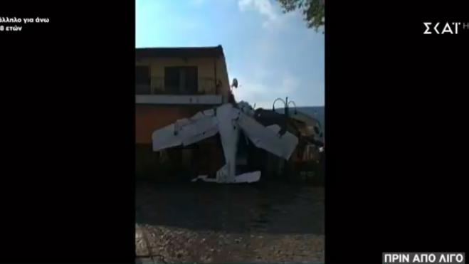 Small plane crashes into house in Proti, Serres - Pilot suffers light injuries
