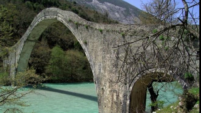 Plaka bridge, the historic single-arch stone wonder of Epirus, fully reconstructed